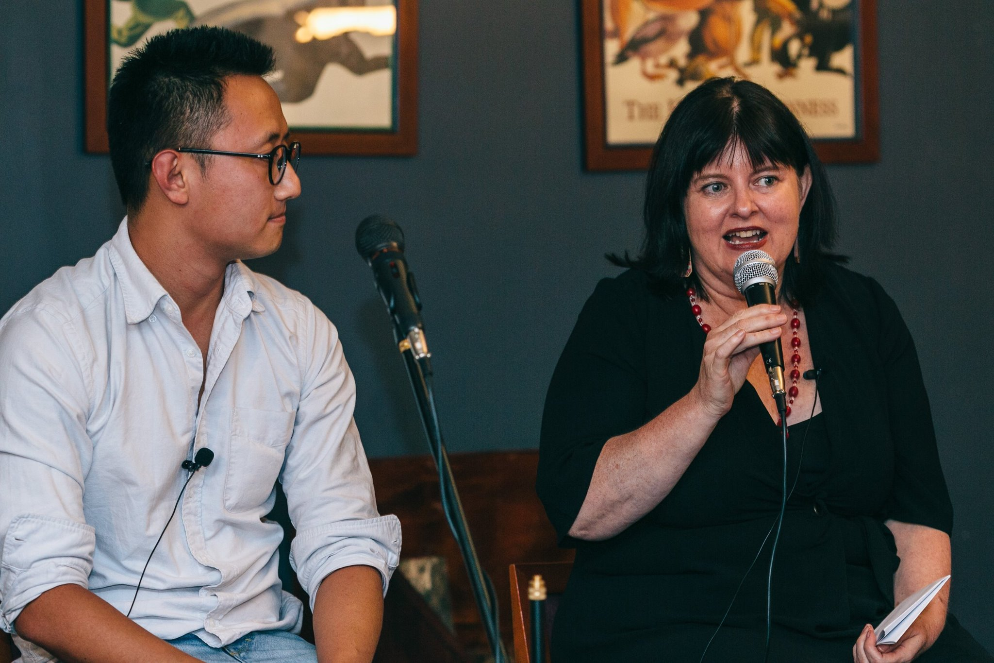 In action, Mama Creatives Funding and Finance Panel; Lisa Cahill, Director of Australian Design Centre, with Rick Chen, co-founder of Pozible.