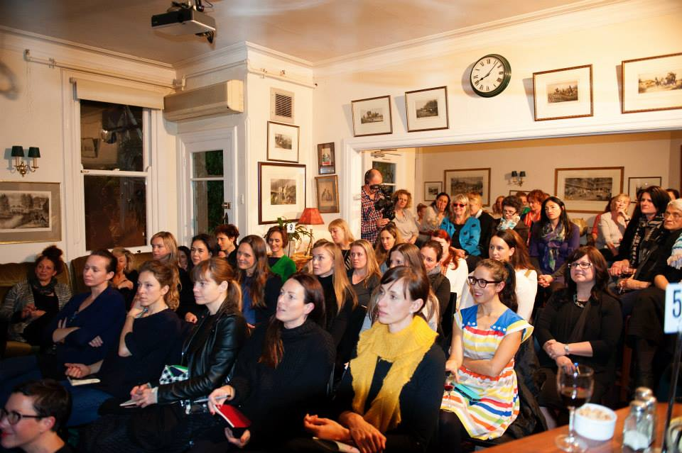 A full house of creative mamas captivated by our featured speaker, Lucy Perry