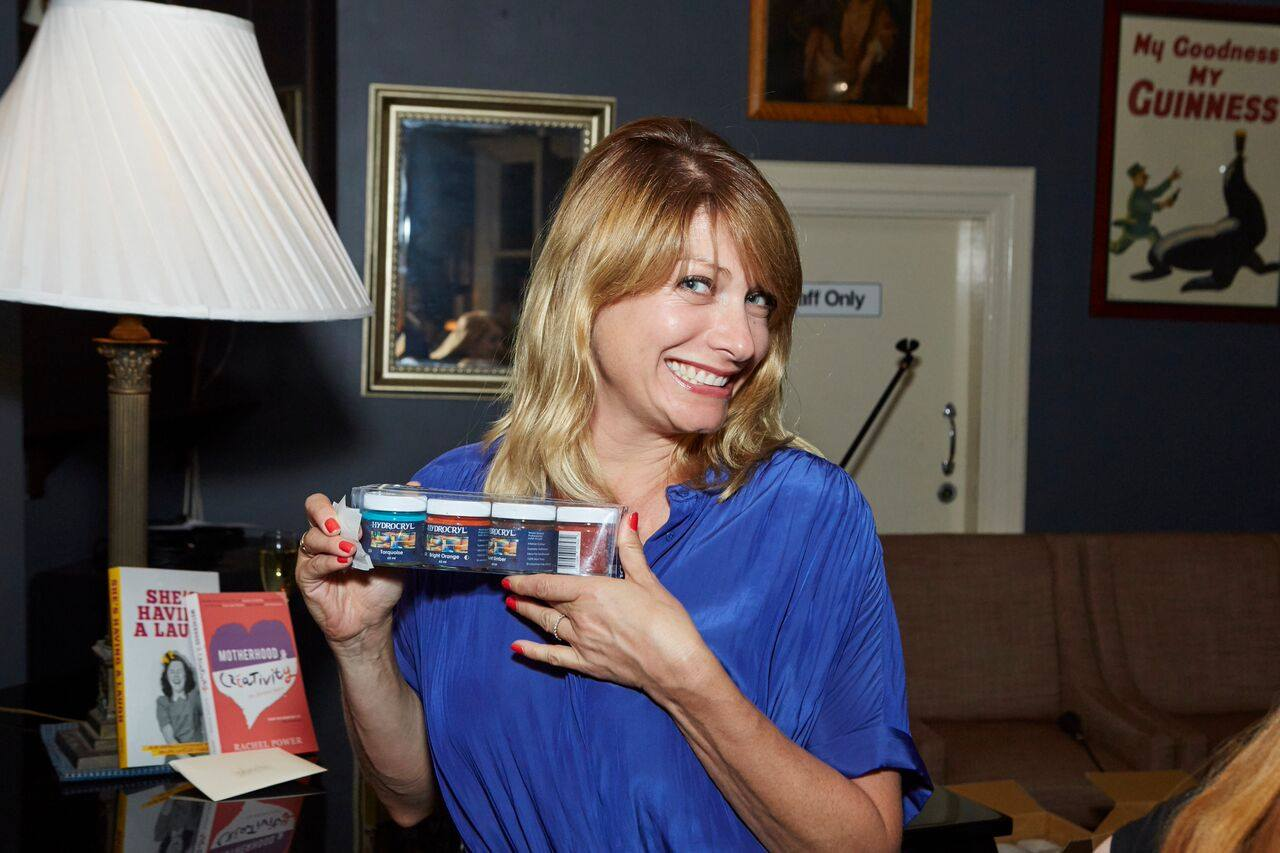 Actress Liv, one happy raffle winner. She won an incredble pack of professional quality and non-toxic Hydrocryl Paints