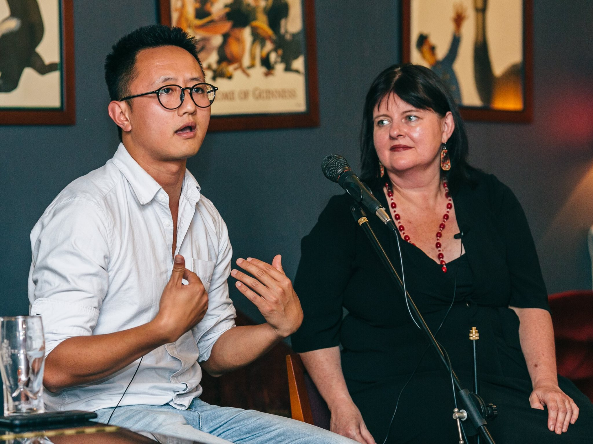 In action, Funding and Finance Panel; Rick Chen, co-founder of Pozible, with Lisa Cahill, Director of Australian Design Centre.