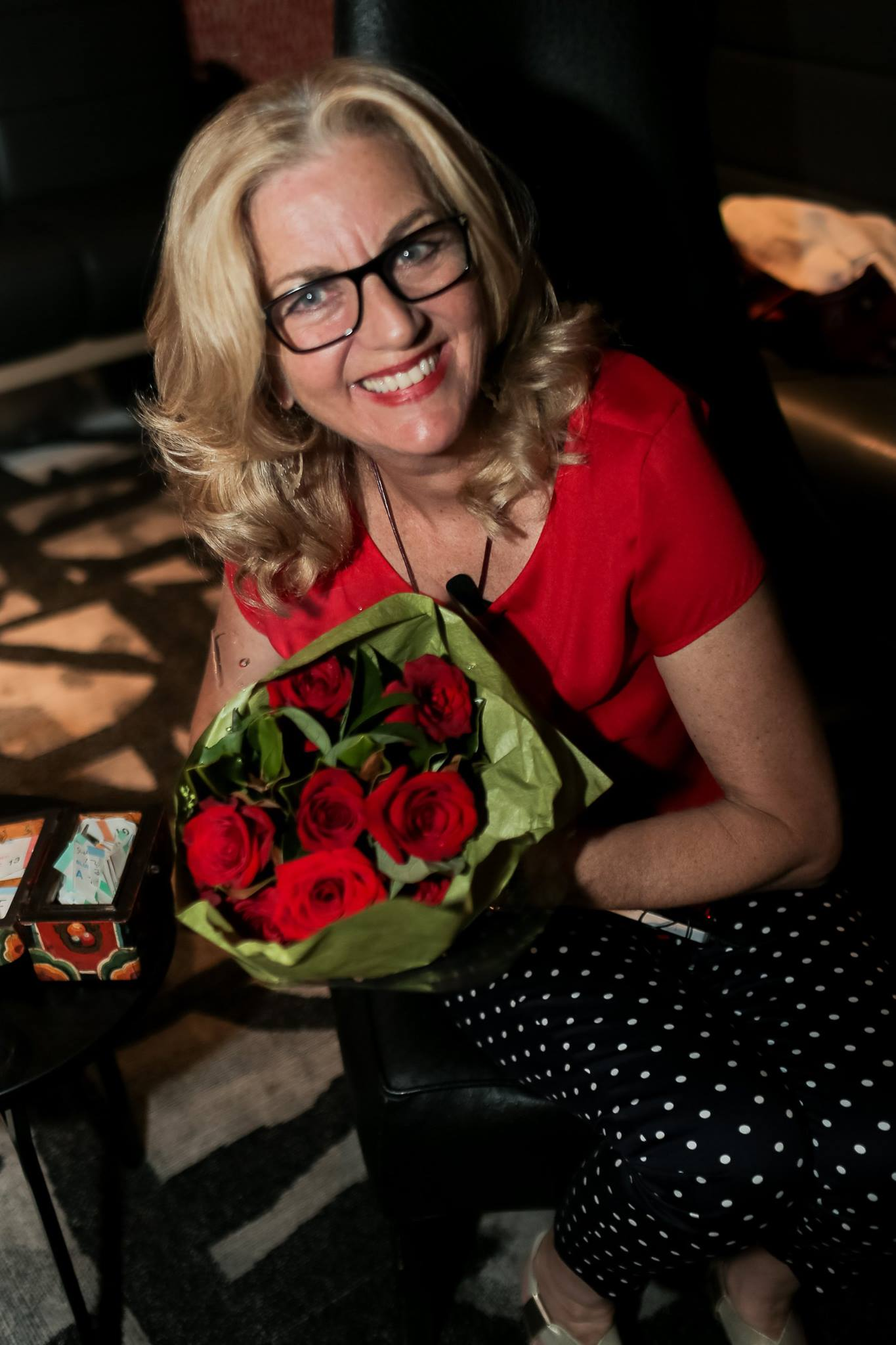 Nothing like red roses at a Red Party! Thank you Jean Kittson for your generosity of spirit and amazing ability to entertain and share stories about periods and menopause with such aplomb and hilarity. Mama Creatives loves you!