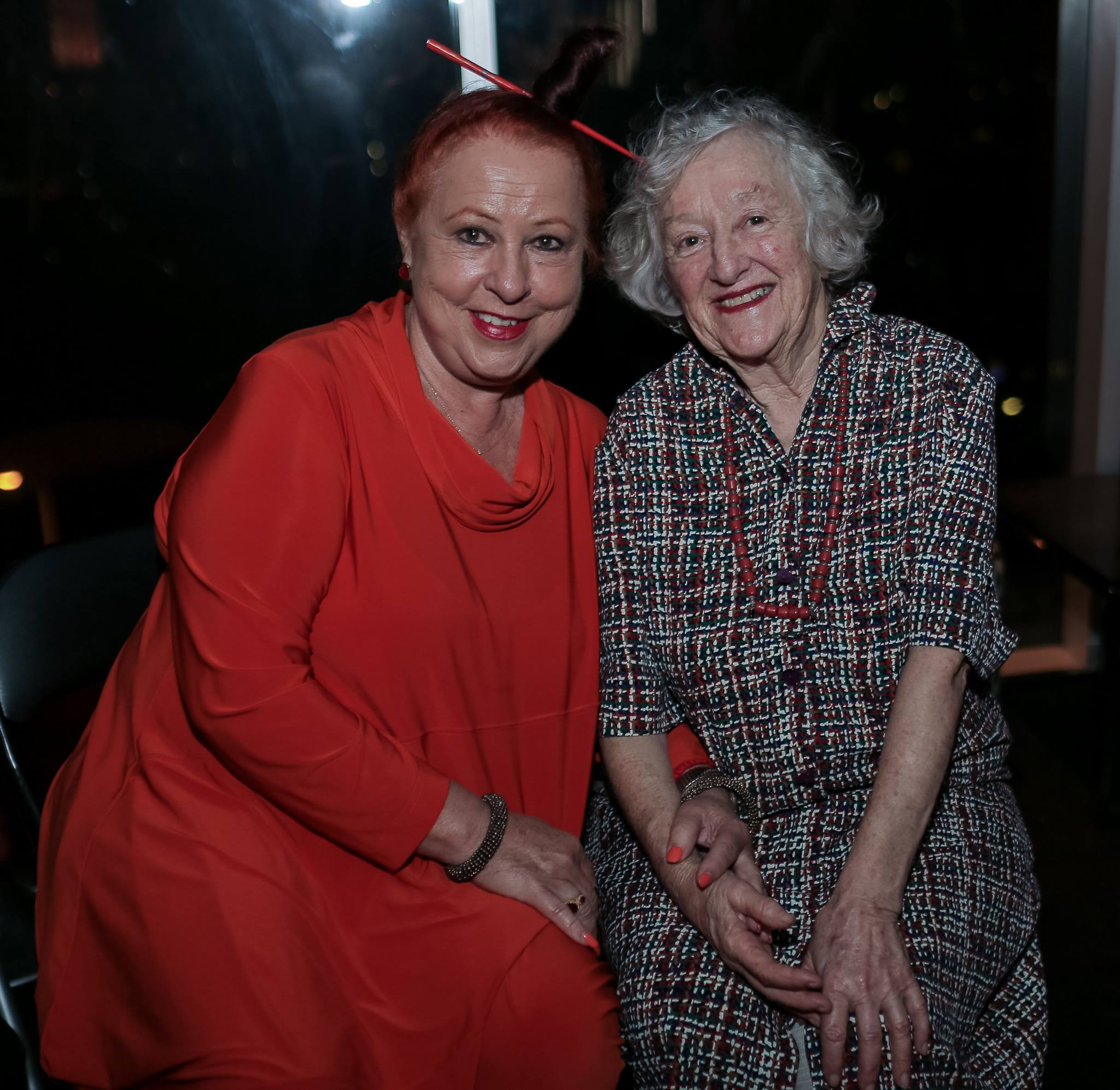 Two legends, Geraldine Cox, founder of Sunrise Cambodia with my mother Bev, who is almost 80 and still up for a party.