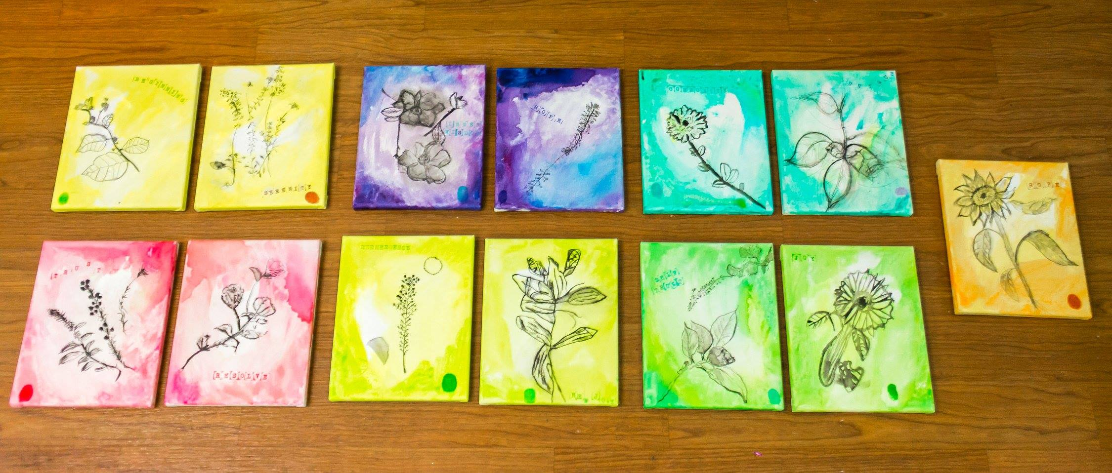 Paintings made by volunteers in the creative painting workshop facilitated by painter Yaeli Ohana