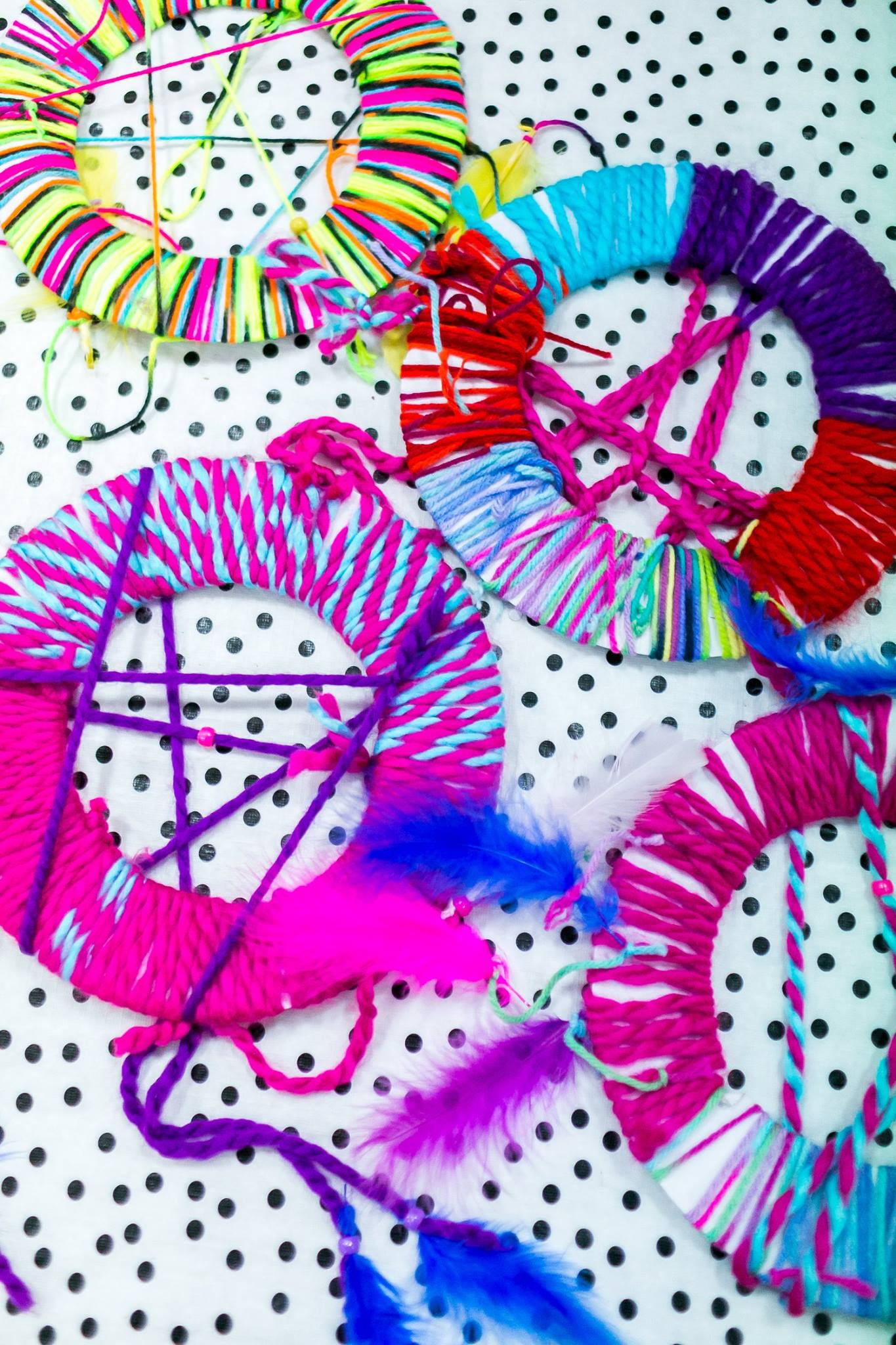 Gorgeous dreamcatchers made by kids