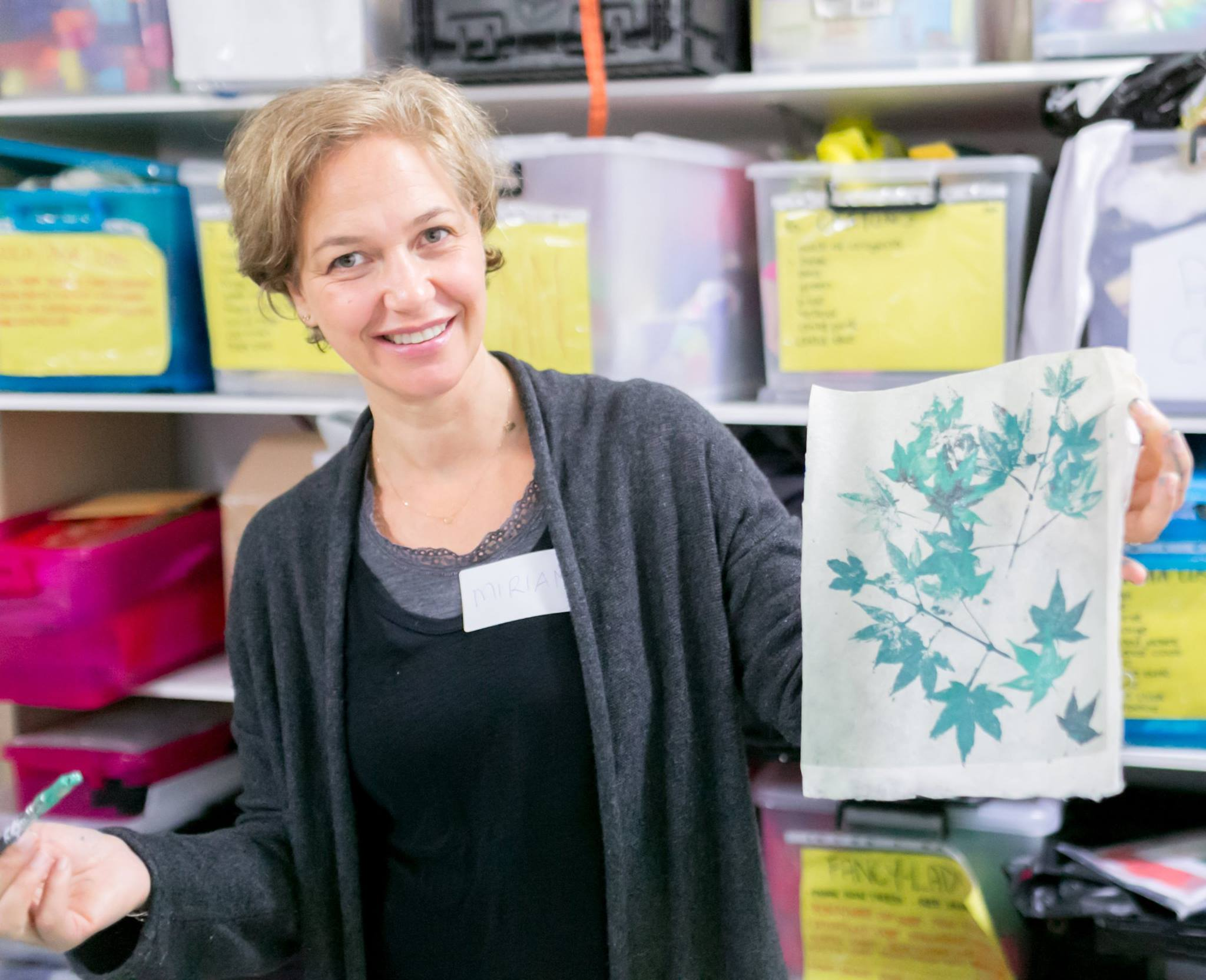 Printed leaves from the creative workshop facilitated by artist Louise Trevitt