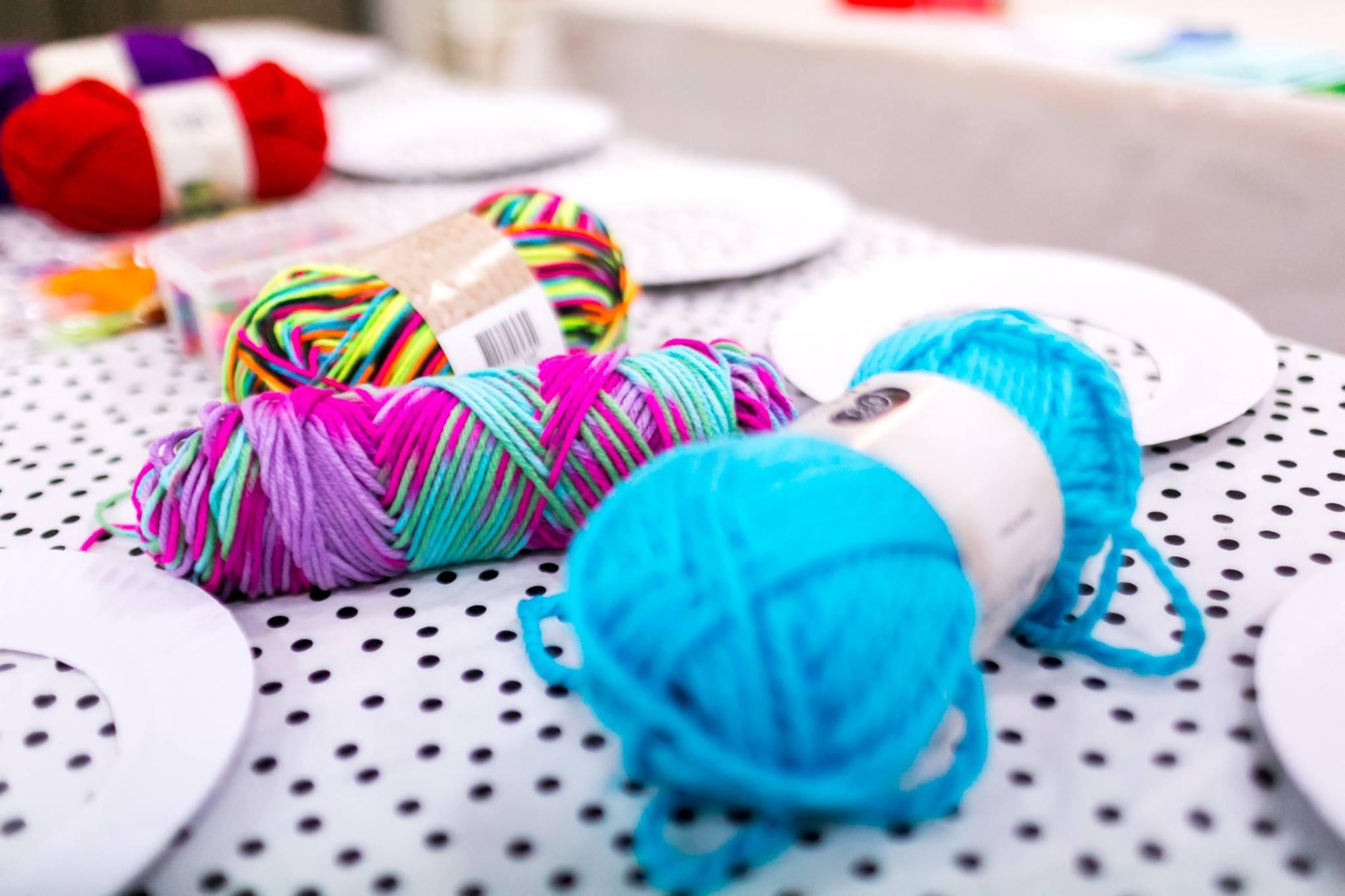 Wool set up for the kids' dreamcatcher workshop