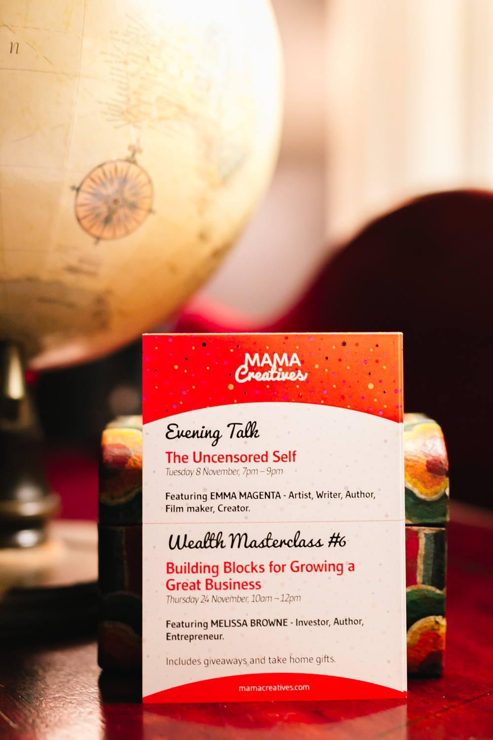 We have two amazing Mama Creatives events coming up in November. An Evening Talk, 'The Uncensored Self' featuring the fabulous artist, writer and filmaker Emma Magenta PLUS our final 'Wealth' Masterclass #6: 'BUILDING BLOCKS FOR GROWING A GREAT BUSINESS' FEATURING: Melissa Browne, Investor, Author, Entrepreneur.