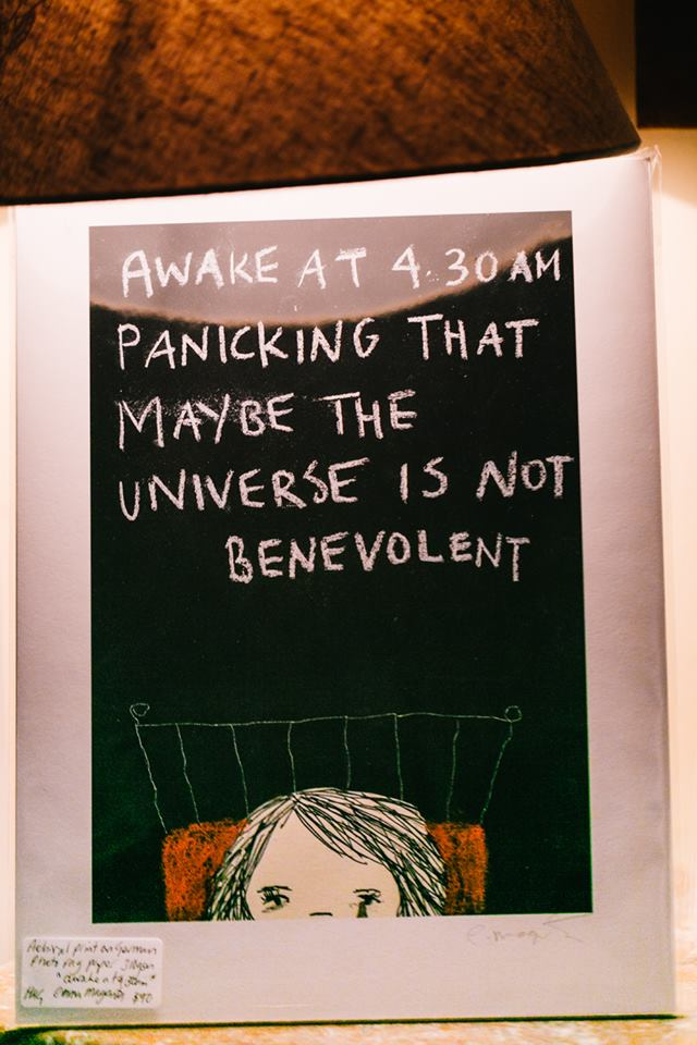 'Awake at 4.30AM panicking that maybe the universe is not benevolent', by Emma Magenta