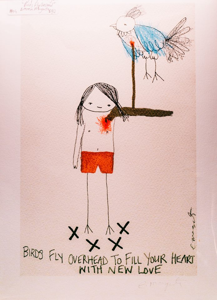 'Birds fly overhead to fill your hearts with new love', by Emma Magenta