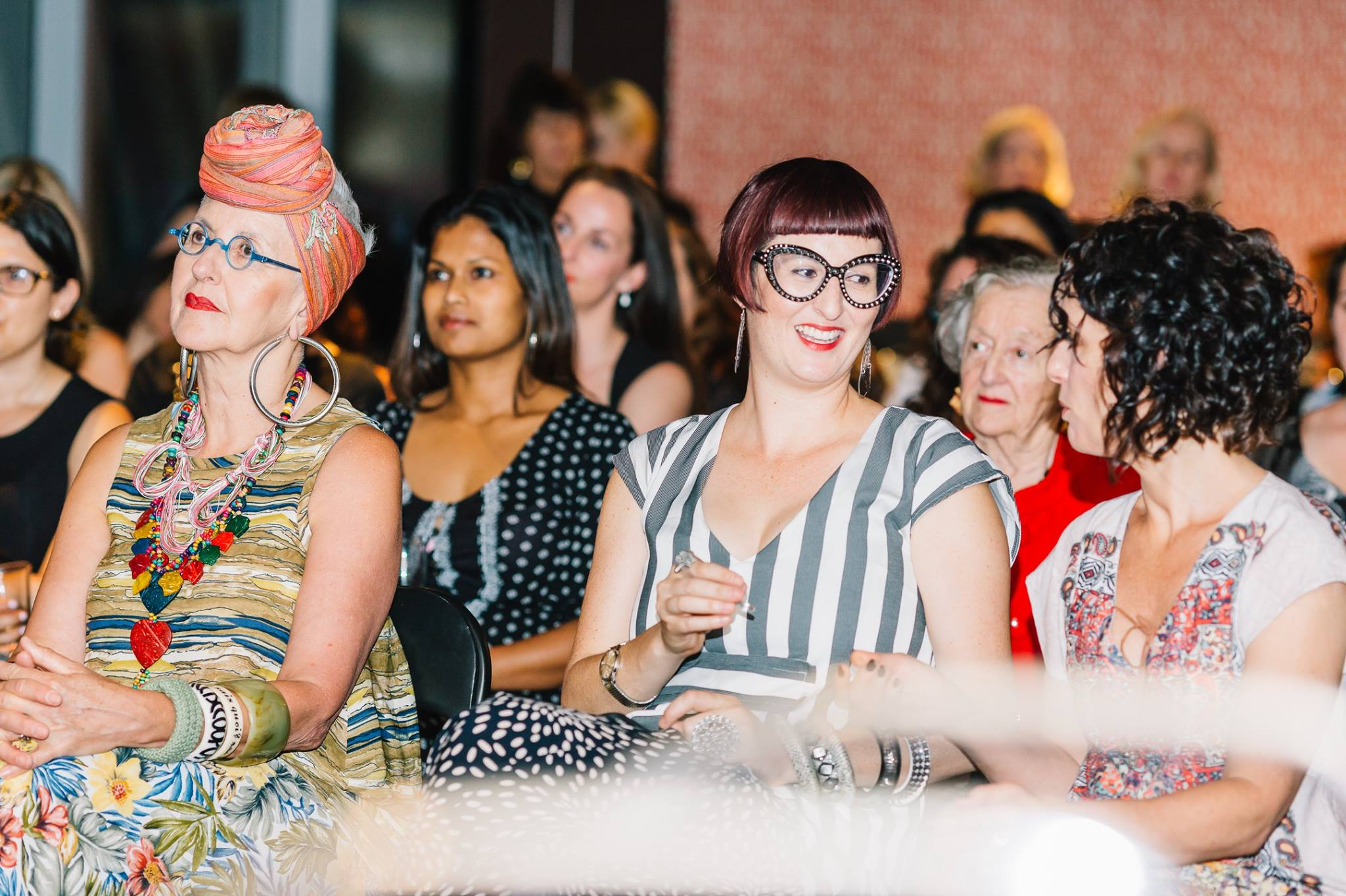 Some of the crowd waiting to hear the fabulous performer AniKiko get our Mama Creatives Christmas Bash started. — with Tutti Bennett, Cecily-Anna Bradley and Kerri Sackville.
