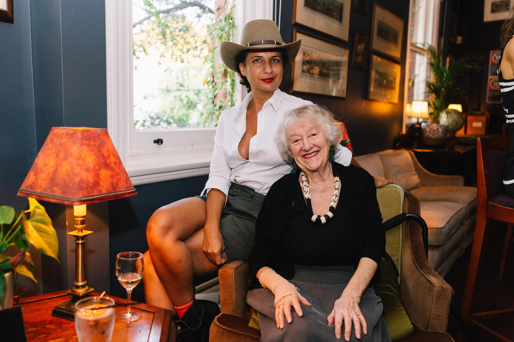 Amazing creative women, Cynthia Sciberras, editor of YOKE magazine, with Bev, 80 years young, at our Mama Creatives evening talk, 'Weaving a New Life: My Journey from Iran to Australia'.