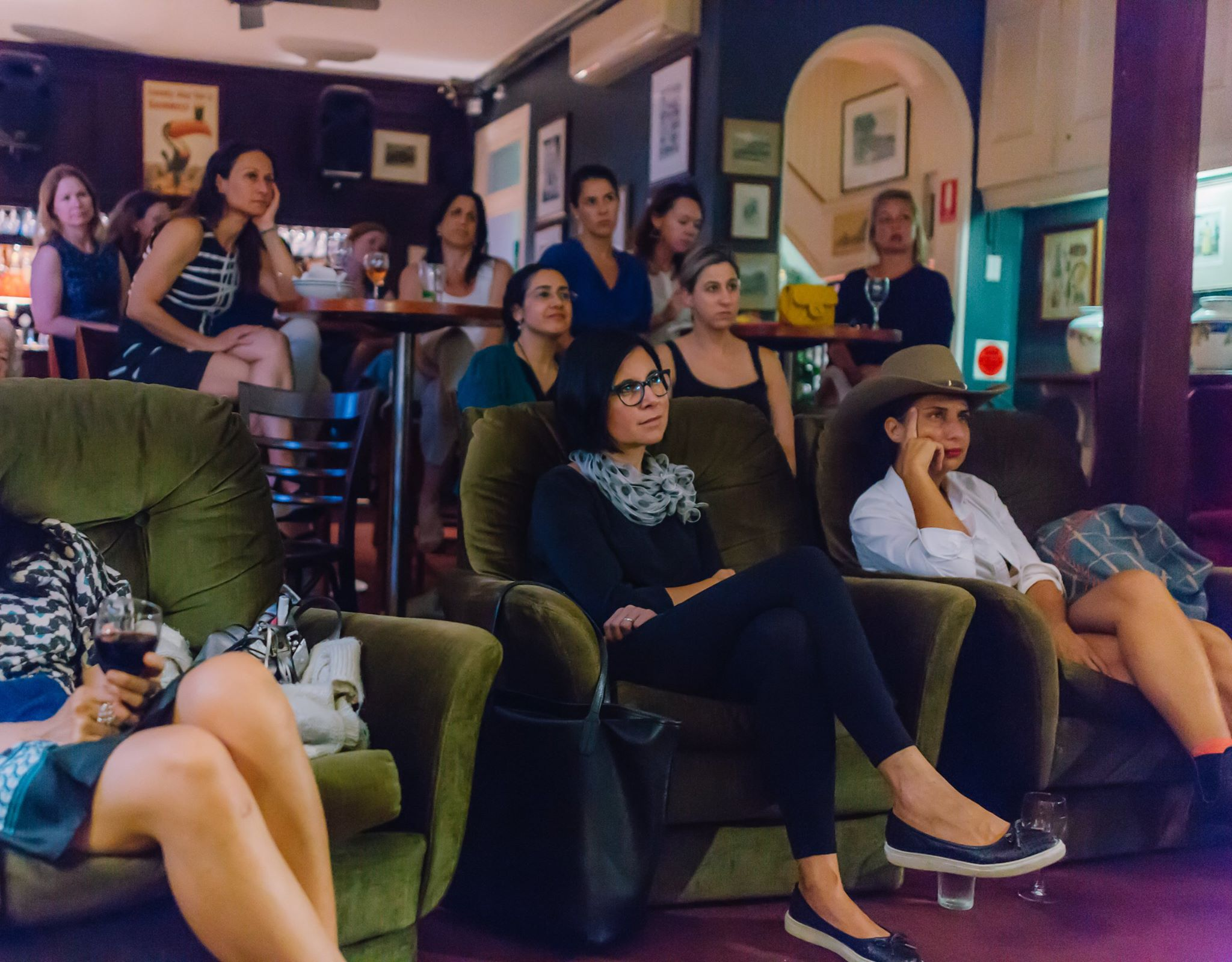 A roomful of gorgeous creative mamas listening to the incredible story of Nazanin Sabzpoori.