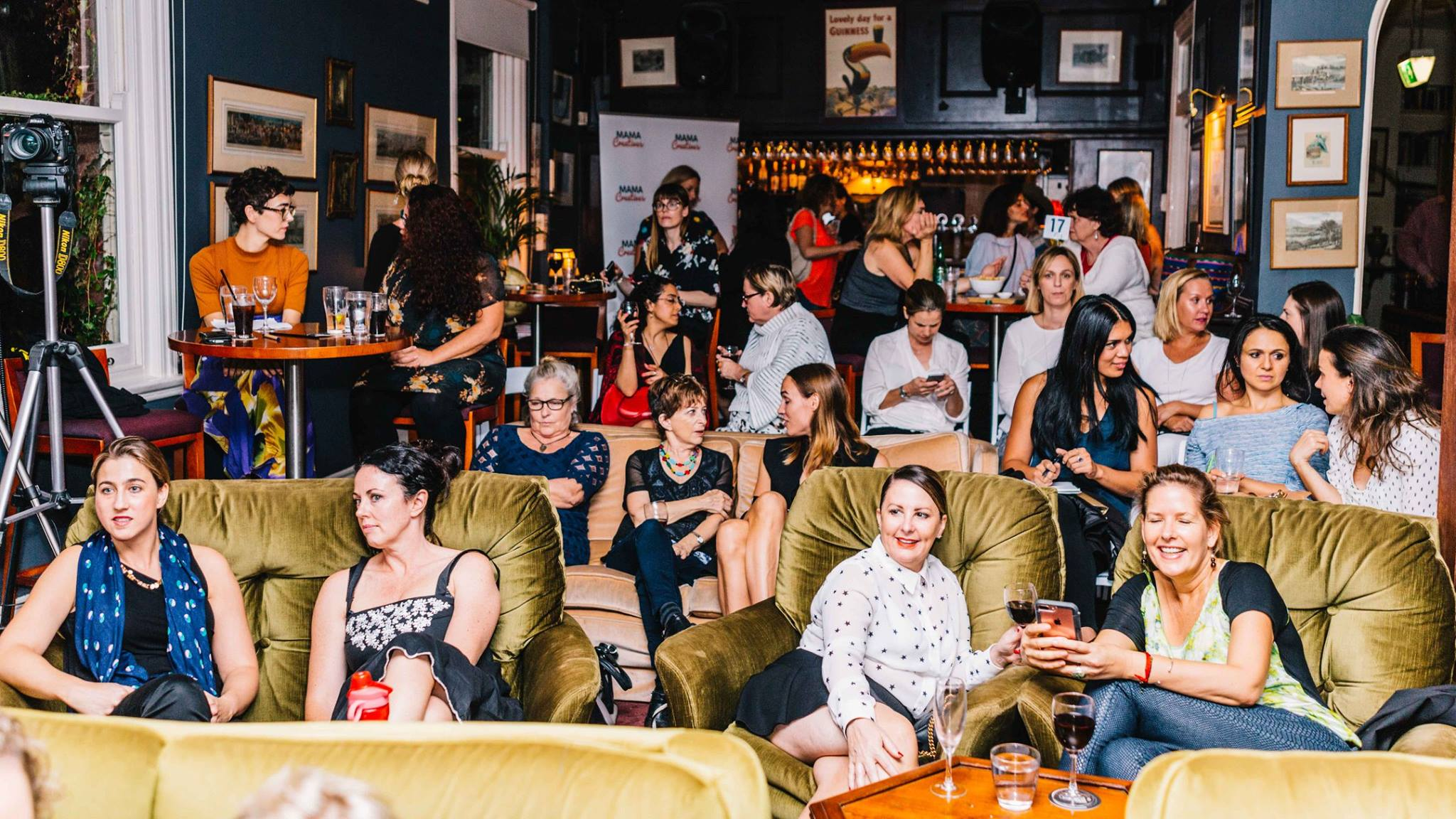 A roomful of creative mamas and women at our Mama Creatives Expert Blogger Panel: 'Sharing your voice & creative passion', featuring Alexx Stuart, founder of Low Tox Life, Lorraine Murphy, founder of The Remarkables Group & Jo Dunlop, creator of GLOBAL FASHPACK