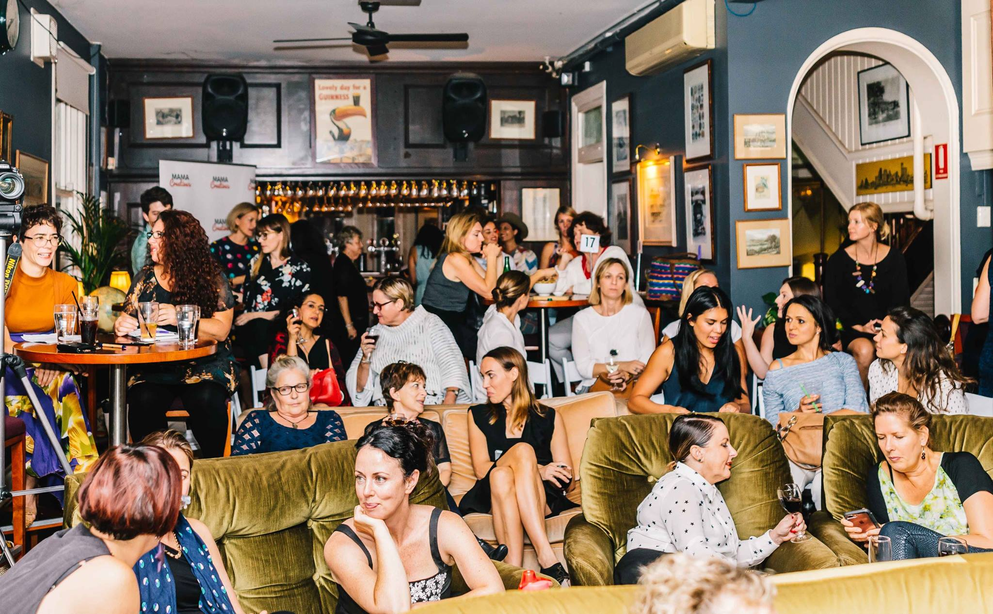 A roomful of creative mamas and women at our Mama Creatives Expert Blogger Panel: 'Sharing your voice & creative passion', featuring Alexx Stuart, founder of Low Tox Life, Lorraine Murphy, founder of The Remarkables Group & Jo Dunlop, creator of GLOBAL FASHPACK.
