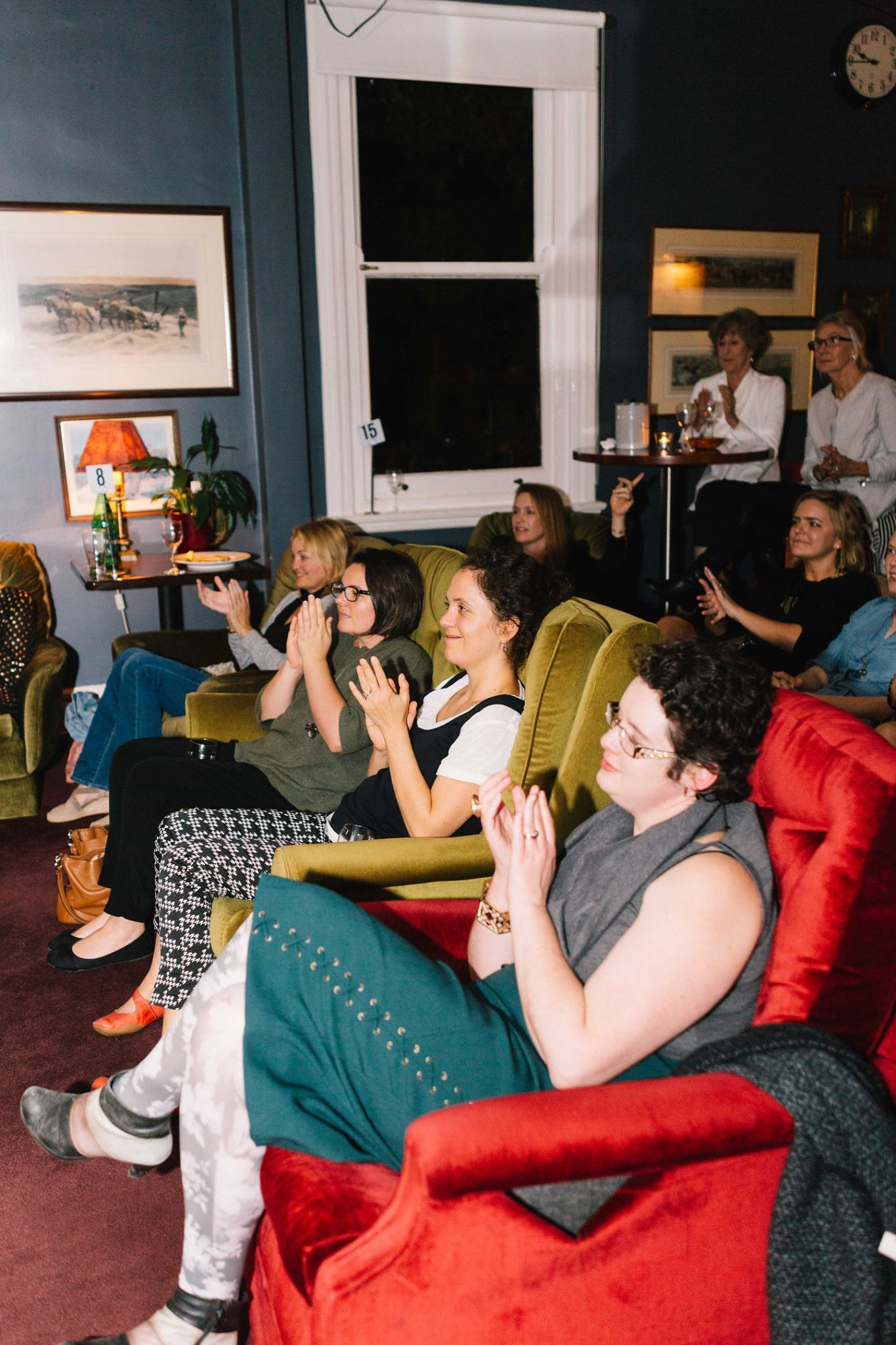 A roomful of mamas, loving our Mama Creatives Evening Talk, 'Creativity, Confidence & Pushing your Comfort Zones' featuring Aura Parker illustrator, designer & children's book author of 'Twig'.
