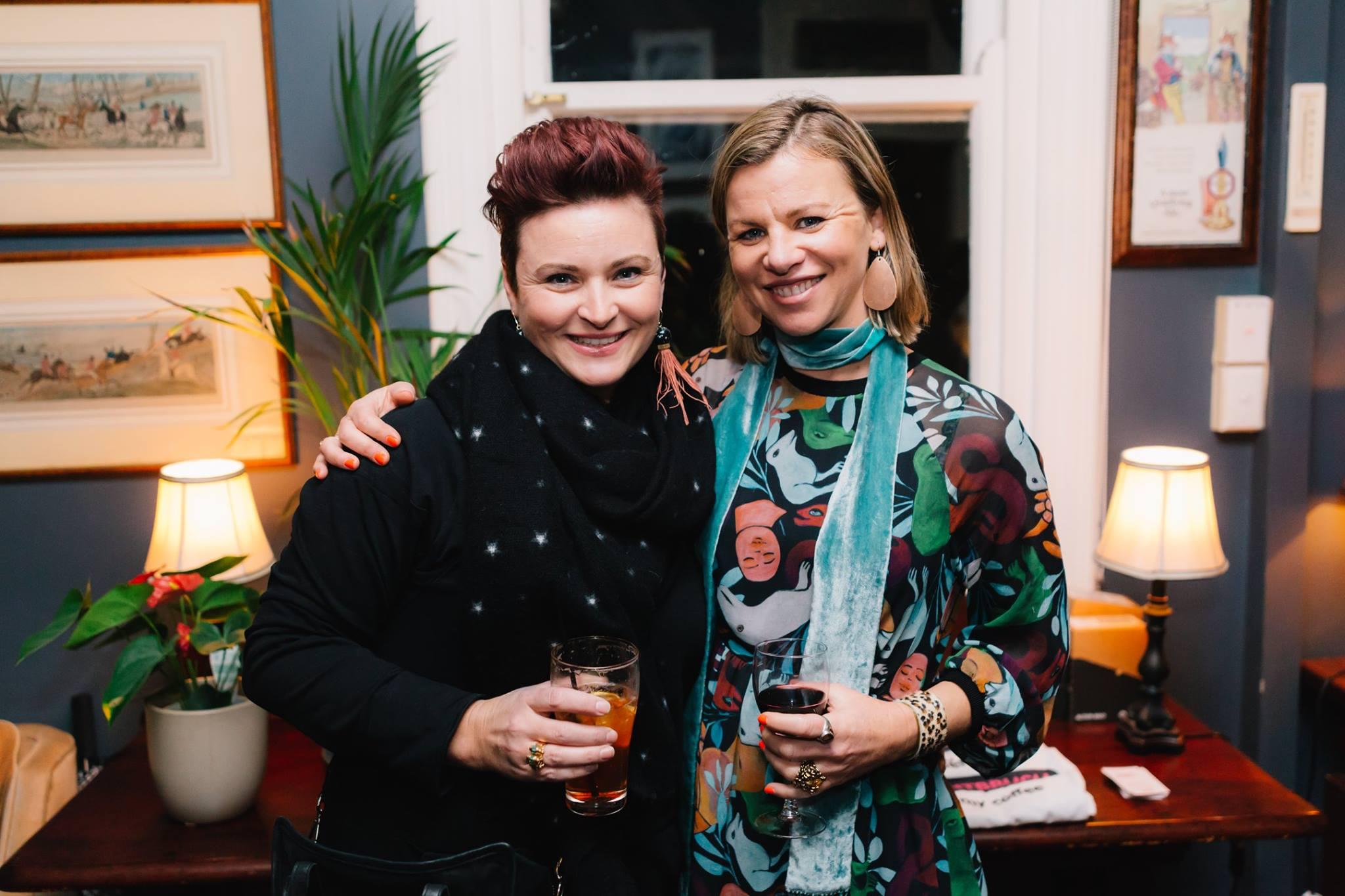 Curator Sophie Vander with our fabulous featured mama presenter artist Jasmine Mansbridge.