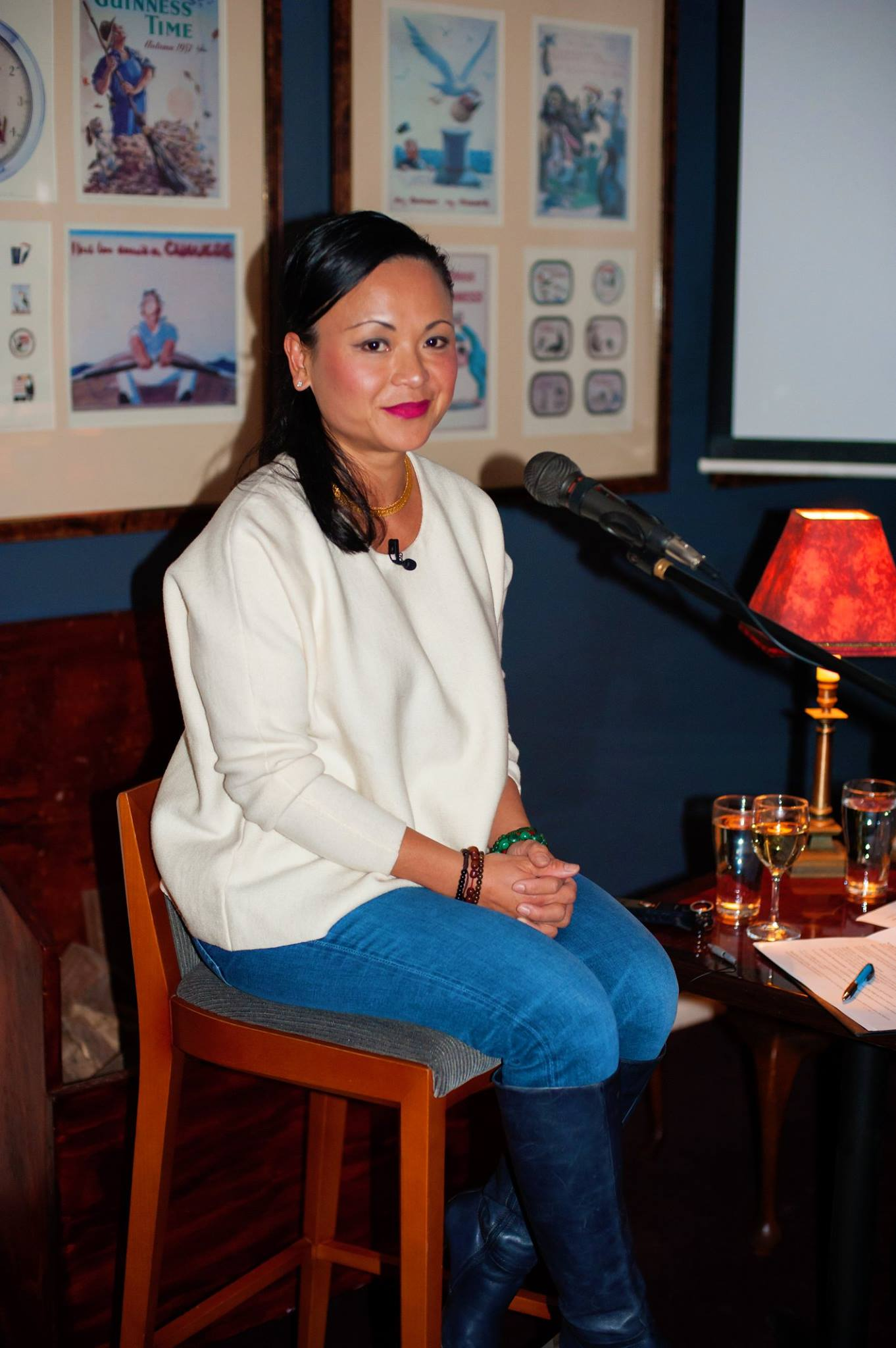 Our magnificent guest presenter, Pauline Nguyen Speaks, poised and ready to go, at our recent Mama Creatives evening event, in her honour.