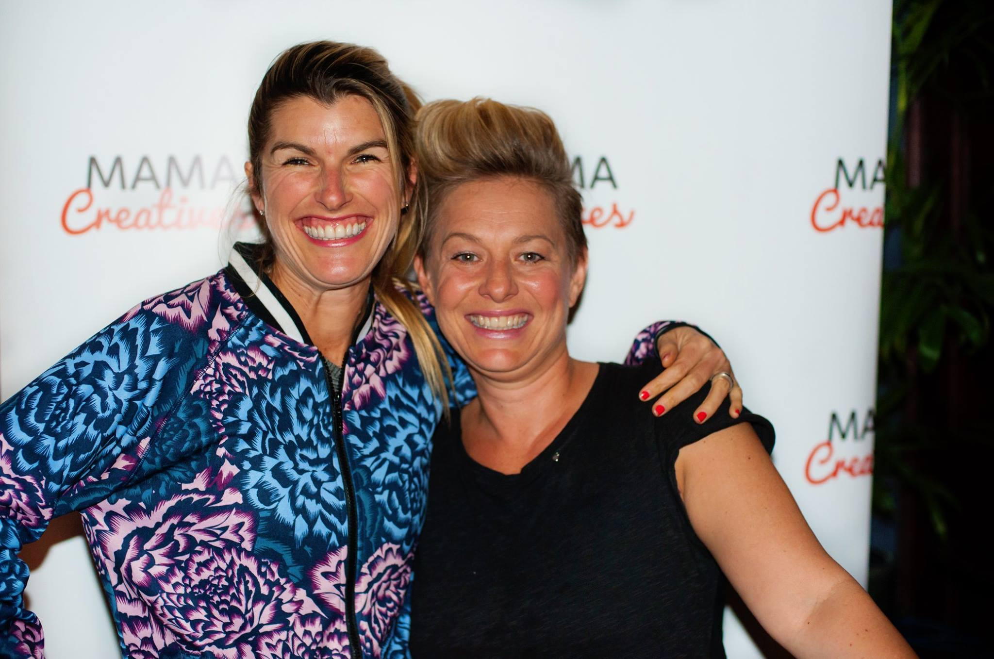 Two fabulous mamas, Lizzy Williamson, founder of Two Minute Moves, with Kylee Fitzpatrick, founder of TEAM WOMEN AUSTRALIA at our Mama Creatives evening talk.