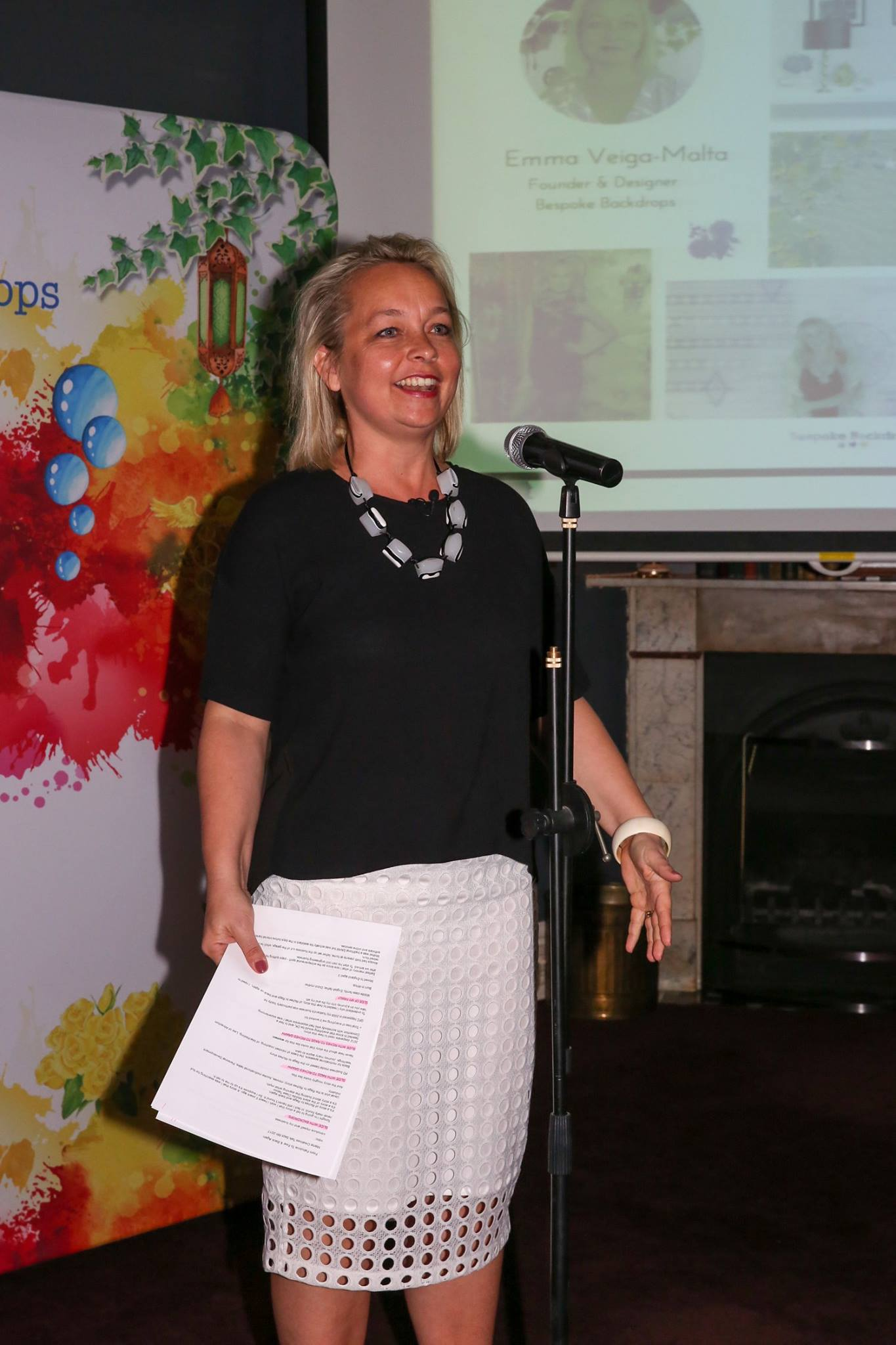 In action, our fabulous featured evening presenter, Emma Veiga-Malta.