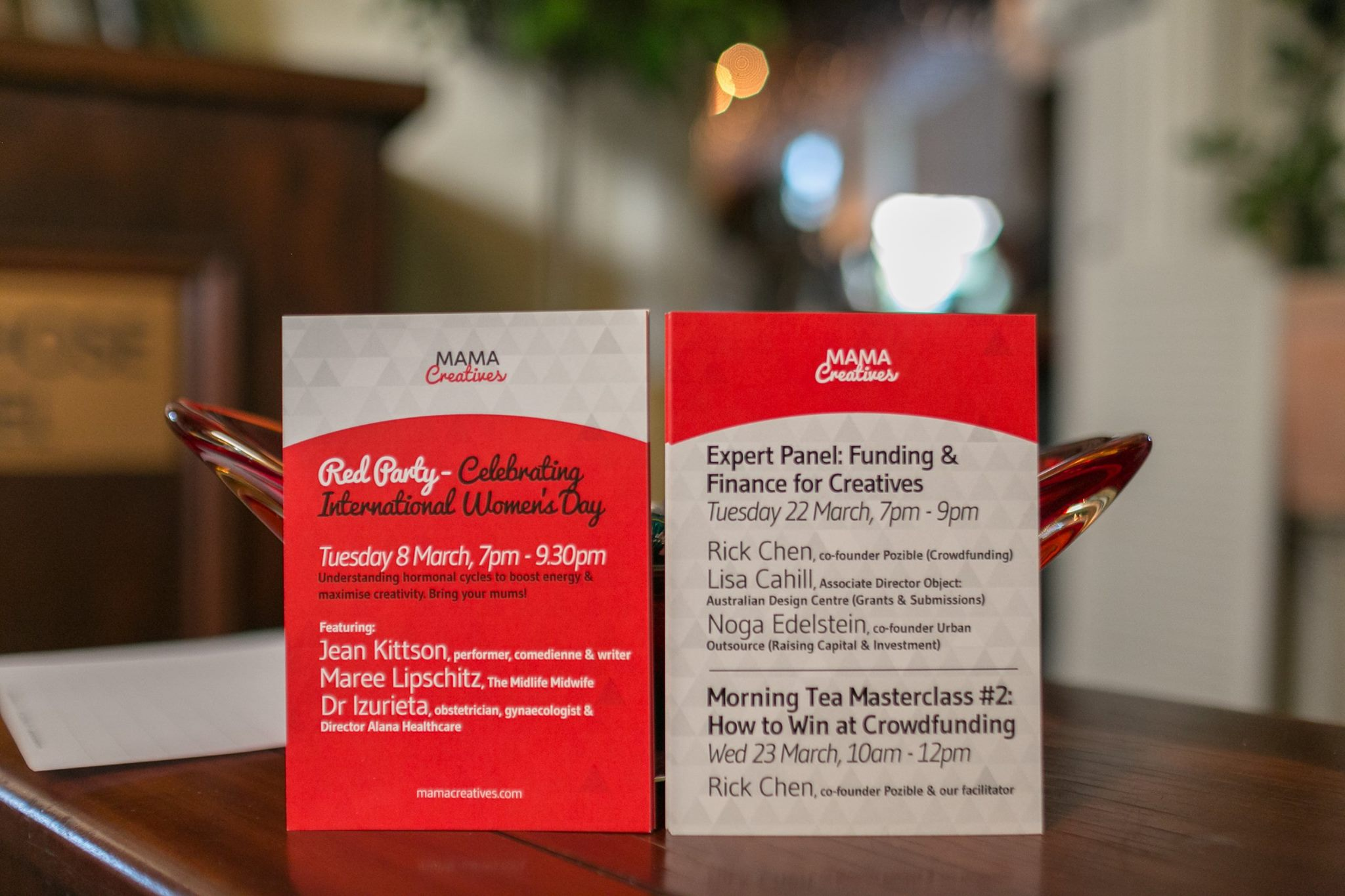 Our fabulous upcoming March events, including our first Red Party in hounour of International Women's Day on 8 March featuring Jean Kittson, Maree Lipschitz, founder of The Midlife Midwife and Dr Alex Izureita, Director at Alana Healthcare for Women.