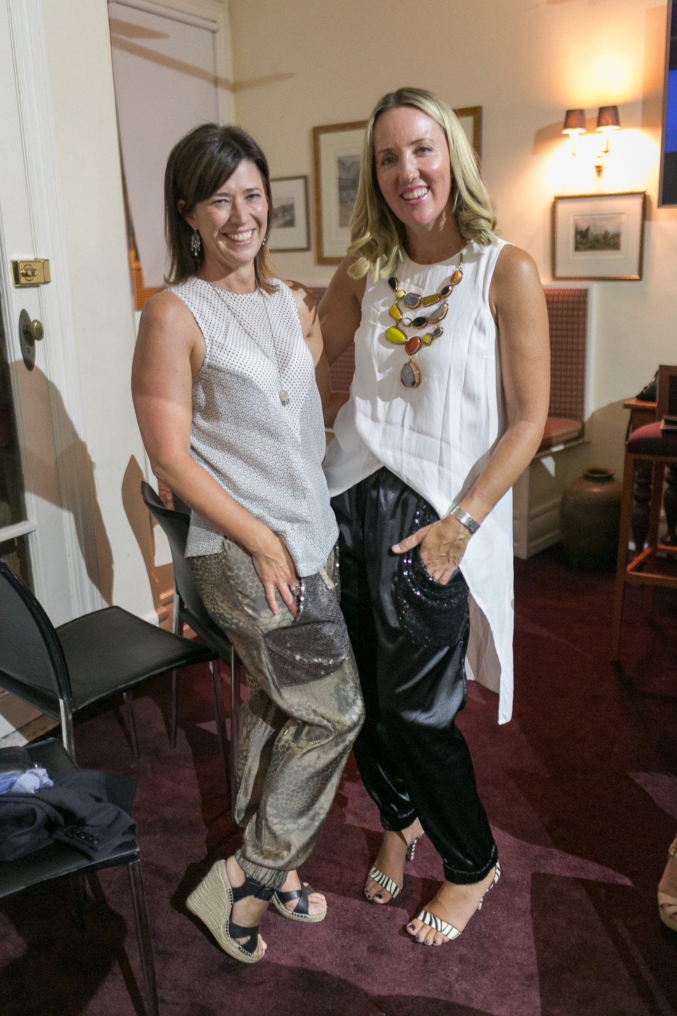 Winner of the giveaway, artist Marie Schlederer wearing her new #partypocketpants! Modelling here with Kate Sutton
