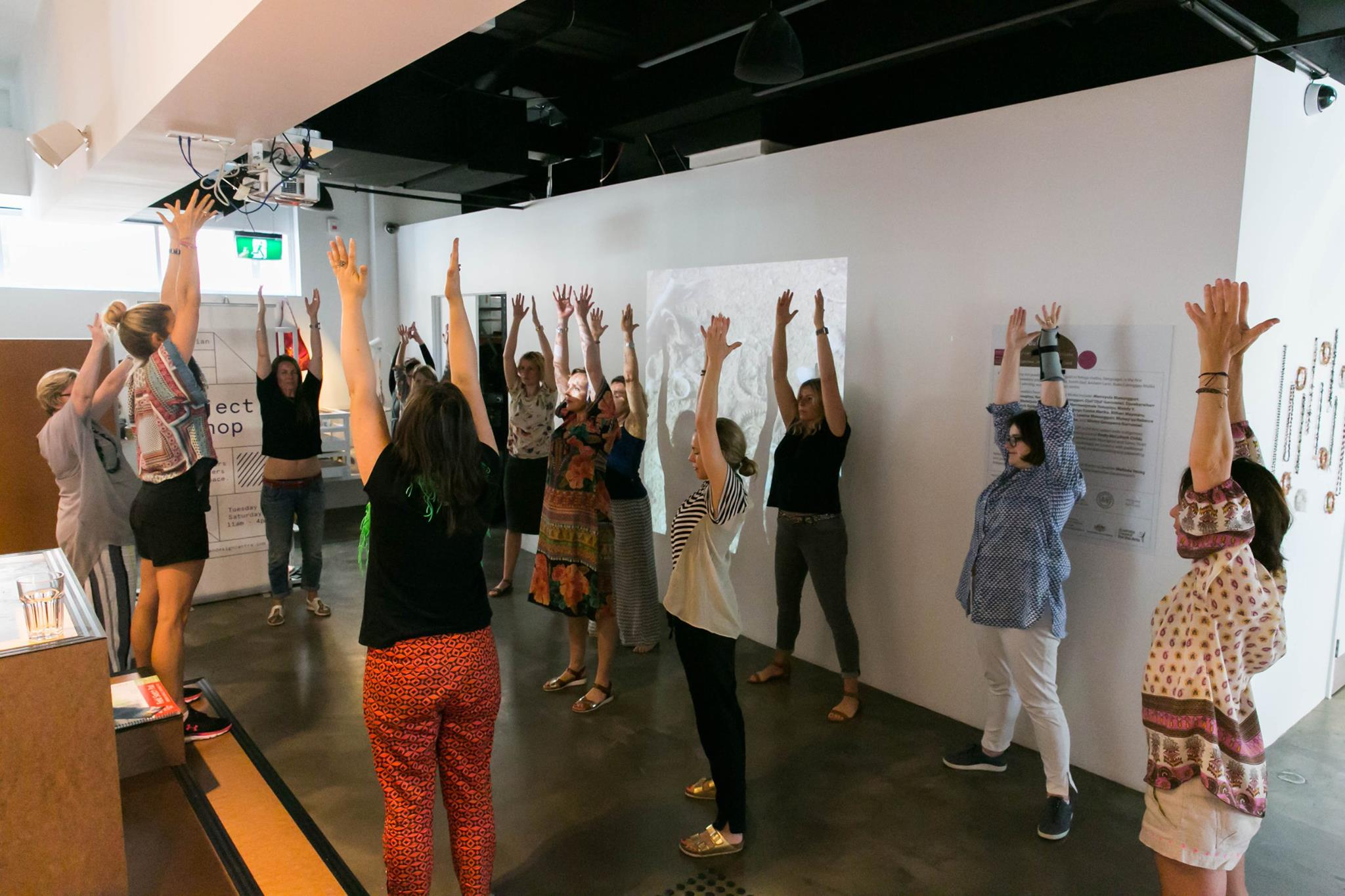 Warm up & breathing exercise with Lizzy Williamson, founder and author of Two Minute Moves, at our Creative Mama Workshop in support of PANDA Awareness Week.