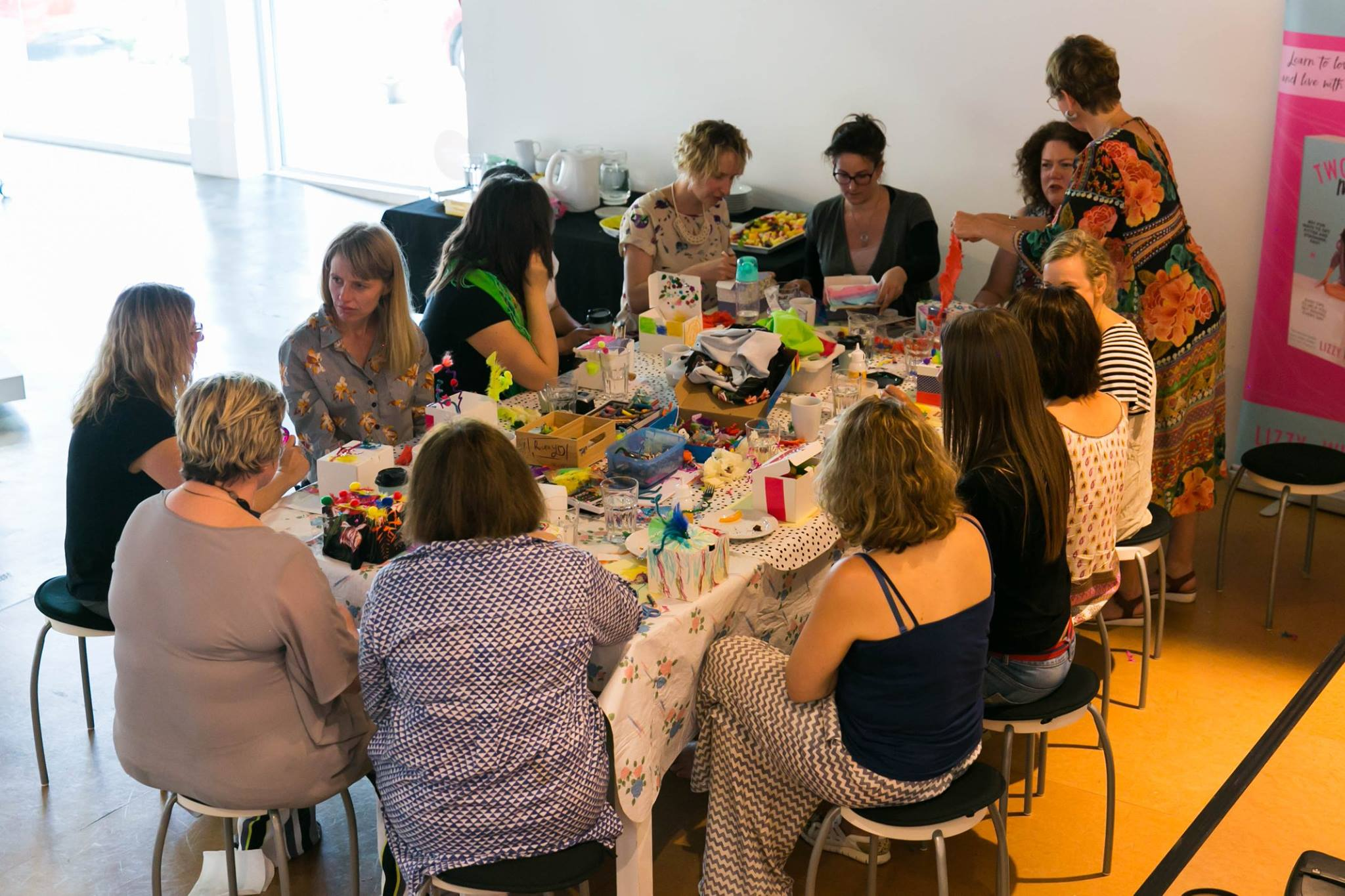 Reflecting on the art activity, at our Creative Mama Workshop in support of PANDA Awareness Week.