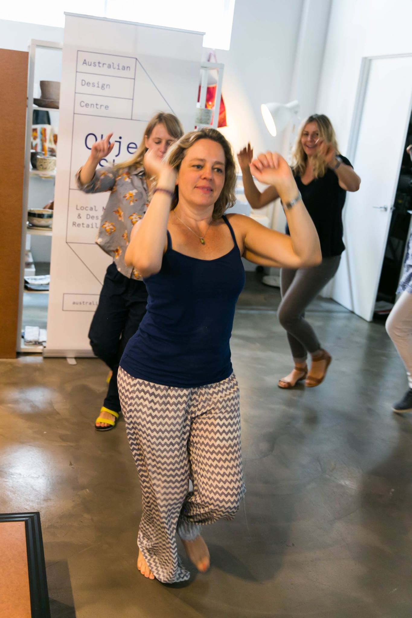 Dancing it out with a conga line, the beat of Whitney Houston and the warm energy of Lizzy Williamson founder & author of Two Minute Moves, at our Creative Mama Workshop in support of PANDA Awareness Week.