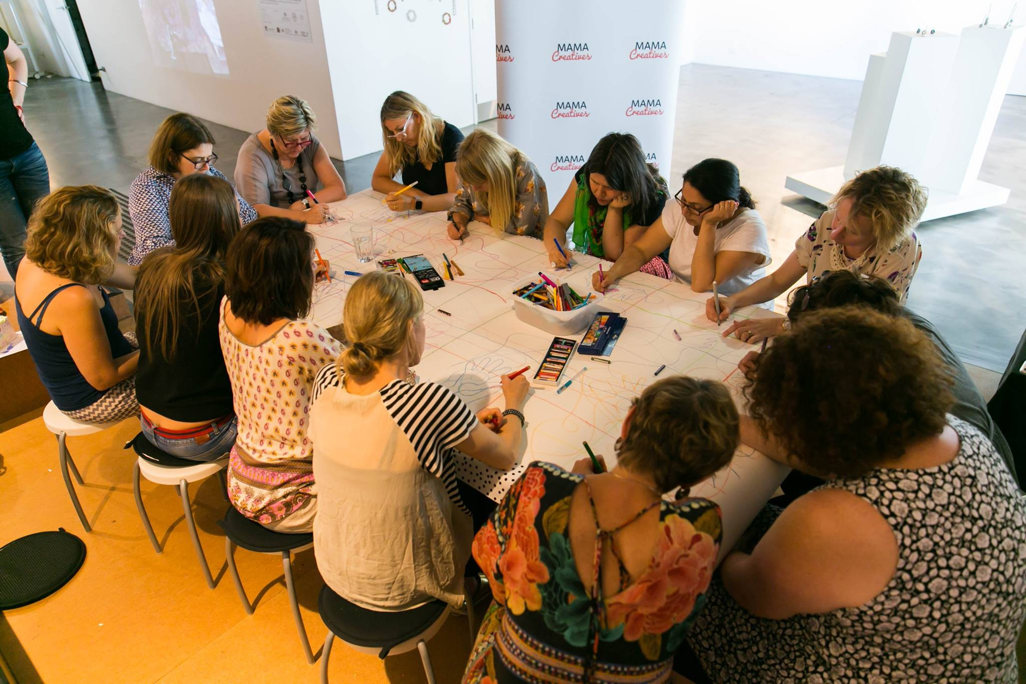 Focused collaborative art making activity, at our Creative Mama Workshop, in support of PANDA Awareness Week.