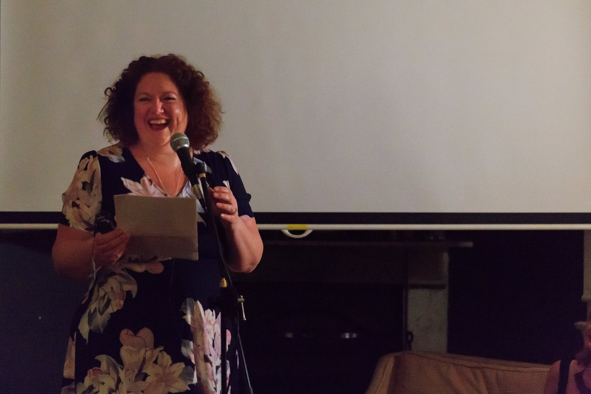 In Action! Our fabulous host & MC Bron Maxabella, founder at Maxabella Loves and Mumlyfe, at our Mama Creatives Story Slam, where 6 women from our community shared personal stories about courage.