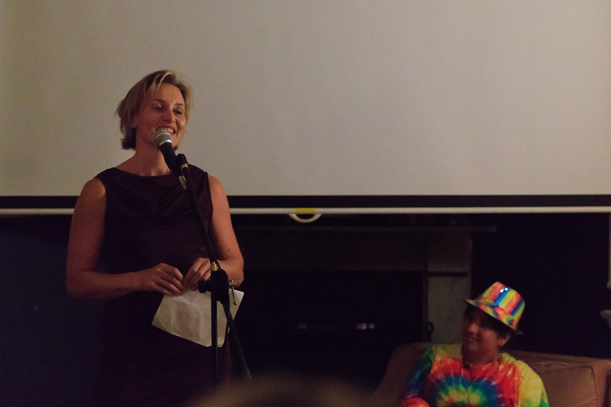In action! Courageous speaker Georgina Russell Badelt, sharing her amazingly courageous story, at our Mama Creatives Story Slam.
