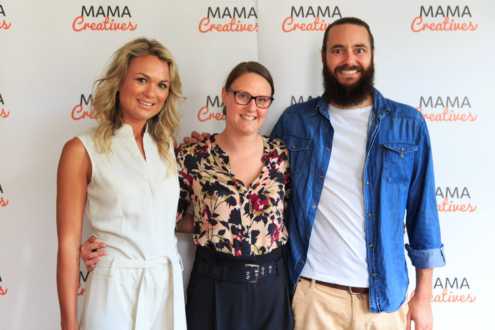 Courageous speaker, Lauren Croxford, with friends (yes men are welcome at our events)! Lauren shared her amazingly courageous story, at our Mama Creatives Story Slam.