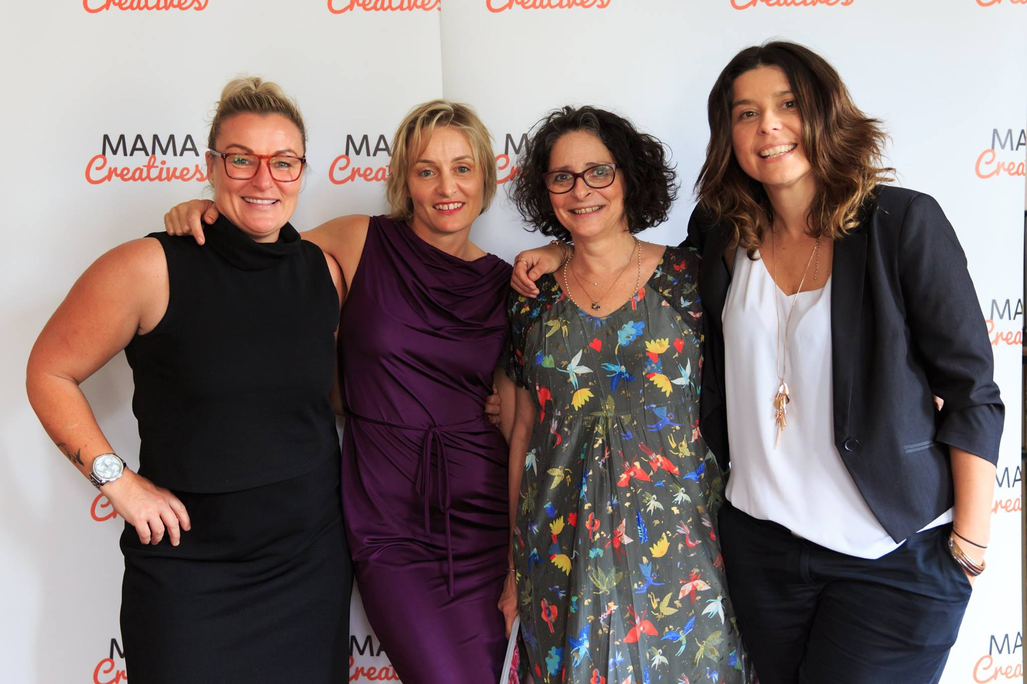 Courageous speaker, Georgina Russell Badelt & friends. Georgie shared her heartfelt and courageous story, at our Mama Creatives Story Slam.