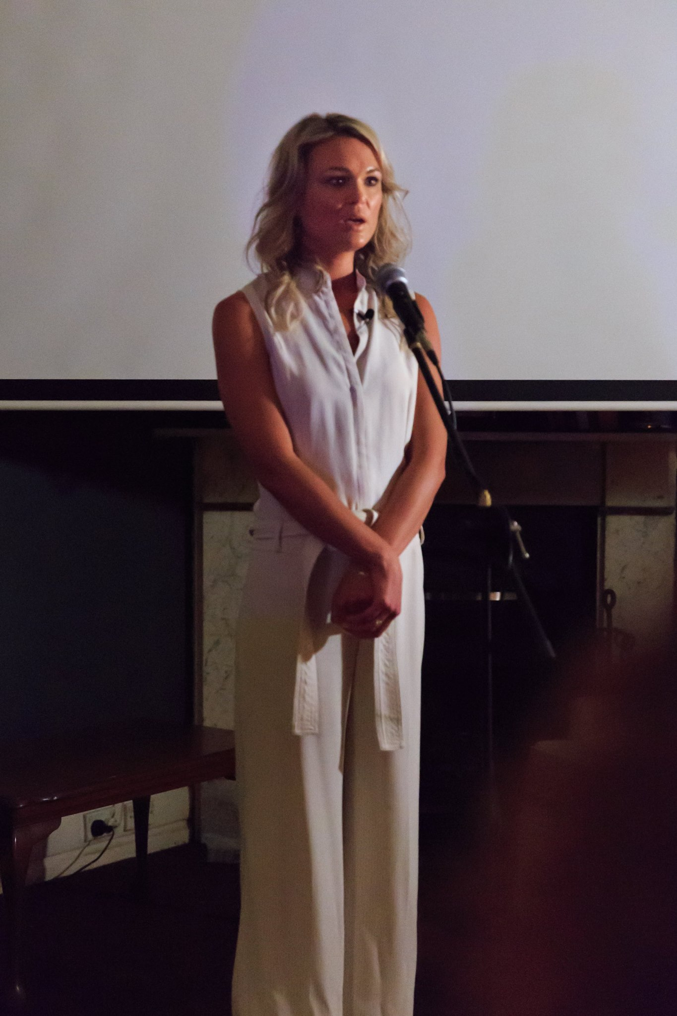 In action! Courageous speaker Lauren Croxford, sharing her amazingly courageous story, at our Mama Creatives Story Slam.